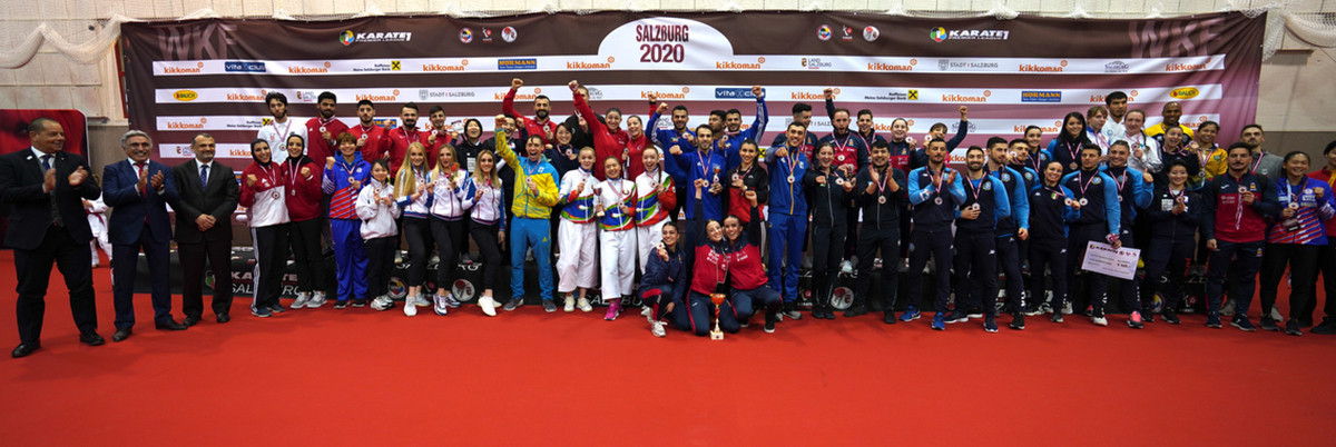 All the medallists at the Karate 1-Premier League event in Salzburg, Austria ©WKF