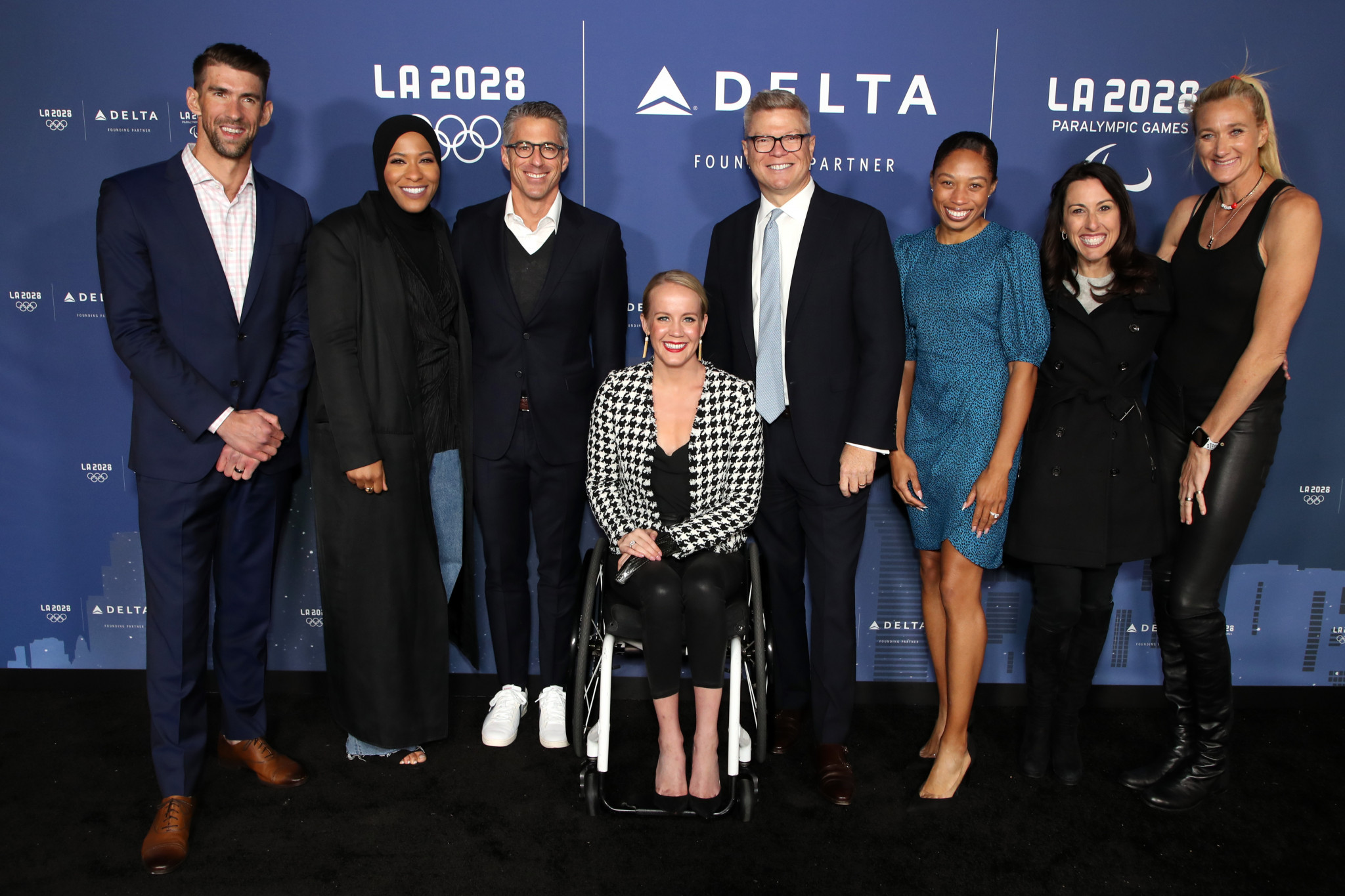 American Olympians turned out to mark the agreement of the partnership ©Getty Images