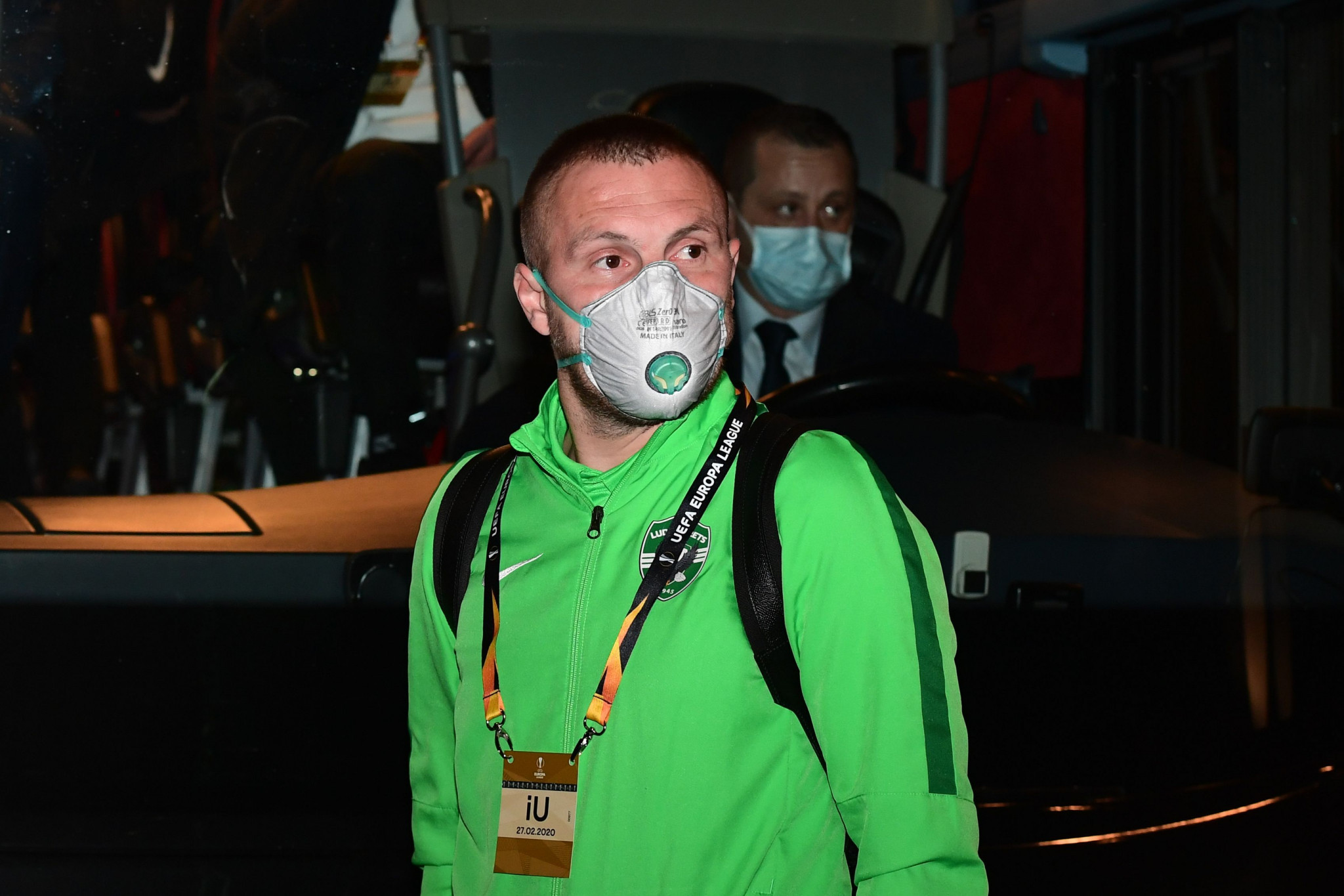 Ludogorets players arrived in Milan last week wearing facemasks ©Getty Images