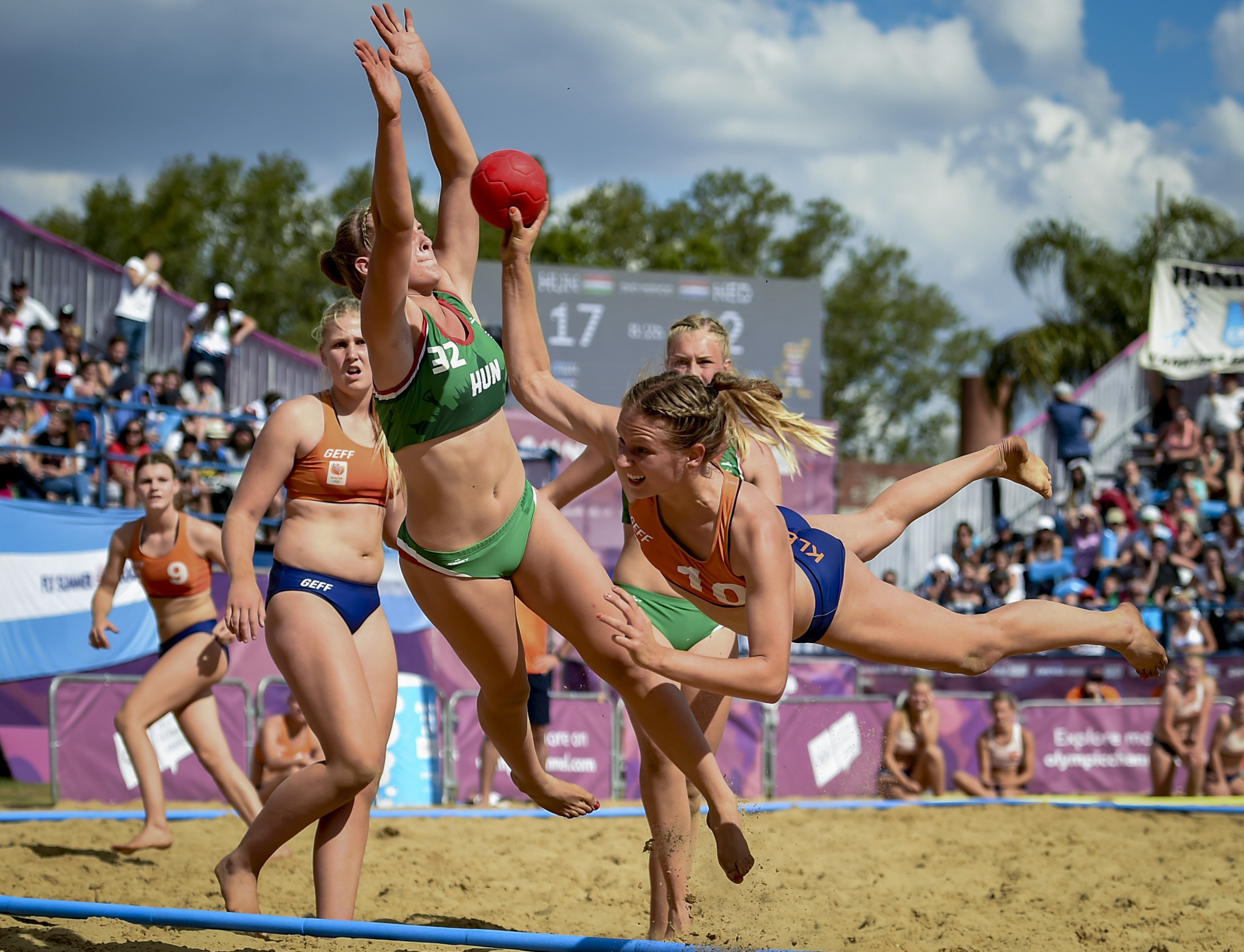 Beach handball made its Olympic debut at Buenos Aires 2018 ©Getty Images