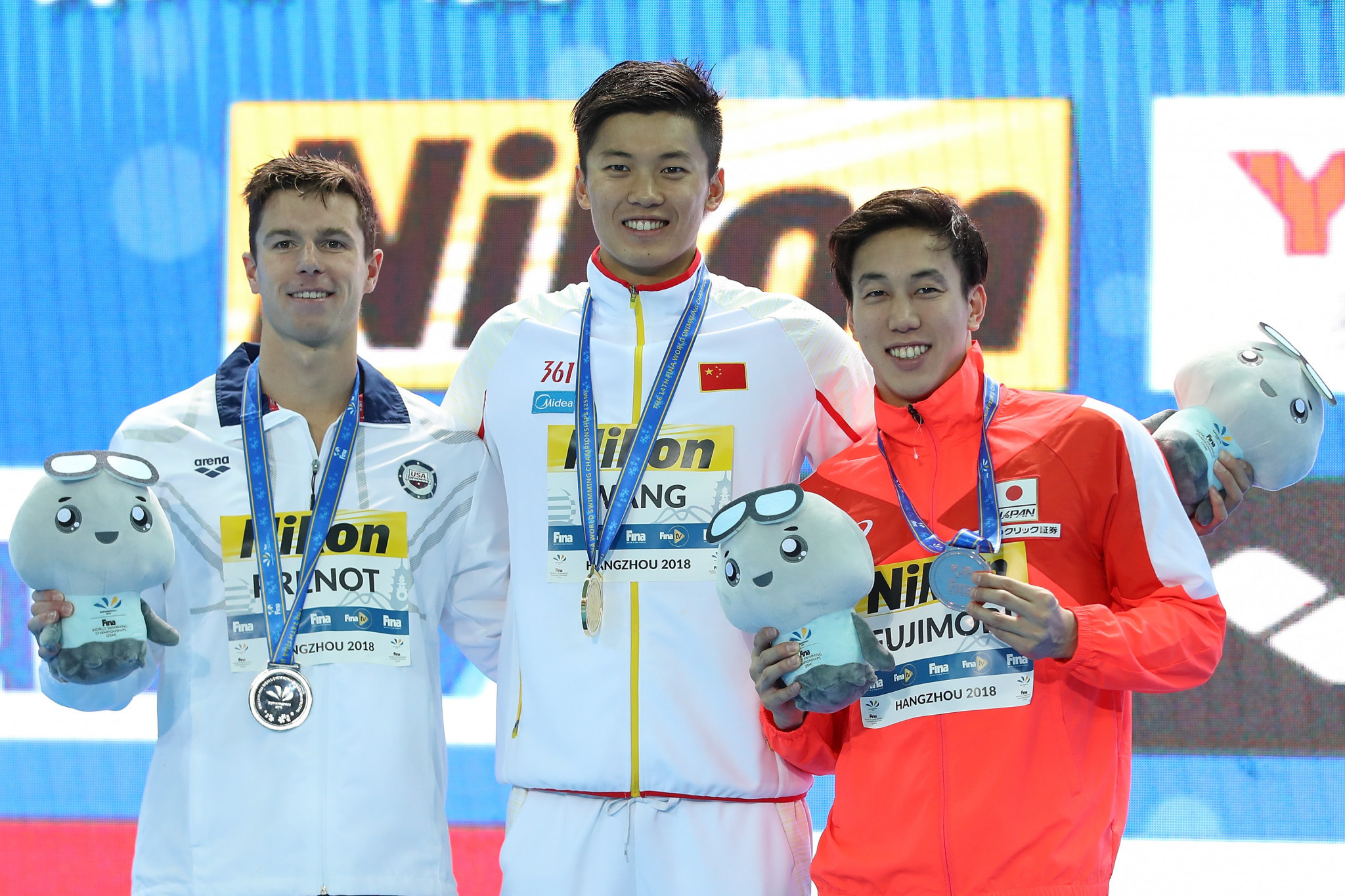 The Japanese swimmer, right, had won two bronze medals at the FINA World Short Course Championships ©Getty Images