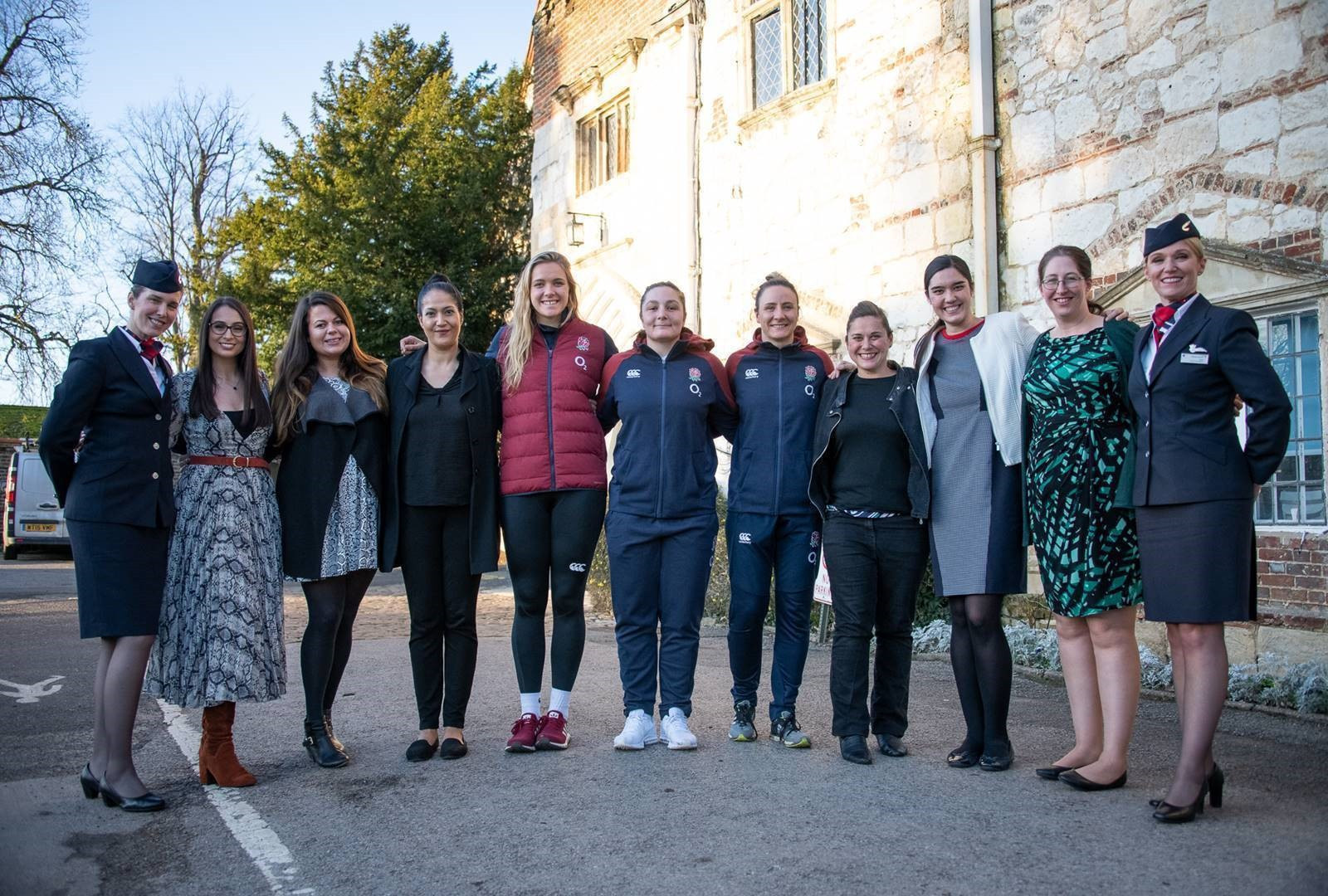 Staff from the British Airways female mentoring programme met with Amy Cokayne, Sarah McKenna and Zoe Aldcroft from England Rugby ©British Airways