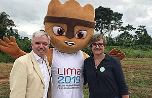"British Trade Envoy to Peru Mark Menzies attended a ceremony declaring Lima 2019 as the first ""green"" Pan American Games in history ©Gov.UK"