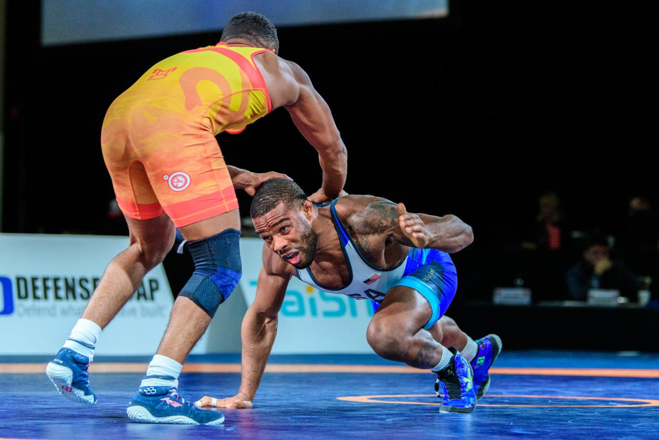 Olympic champion Jordan Burroughs won one of the United States' six gold medals on the final day ©UWW/Tony Rotundo