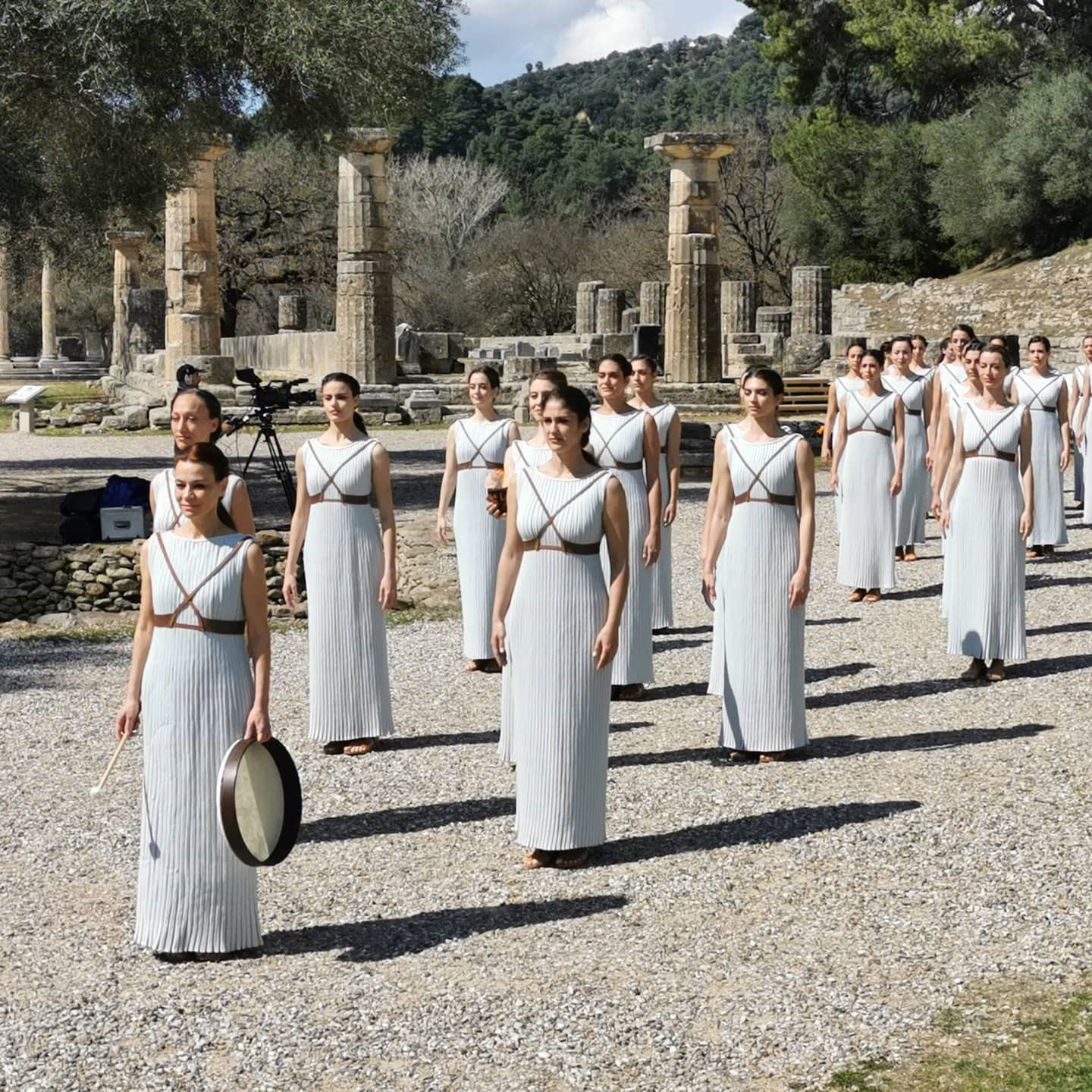 The final dress rehearsal ahead of the Olympic Flame lighting ceremony took place today in Ancient Olympia ©Hellenic Olympic Committee