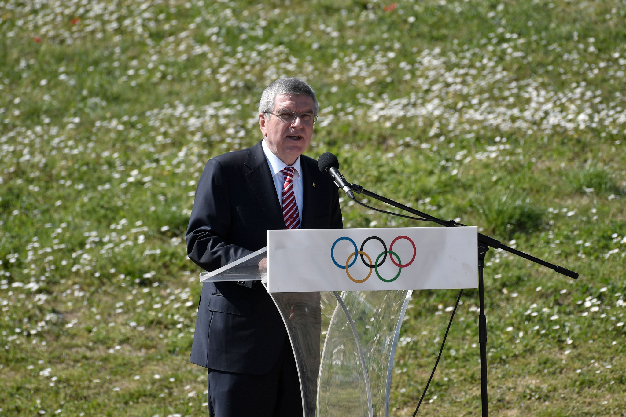 International Olympic Committee President Thomas Bach attended the scaled-back event ©Getty Images
