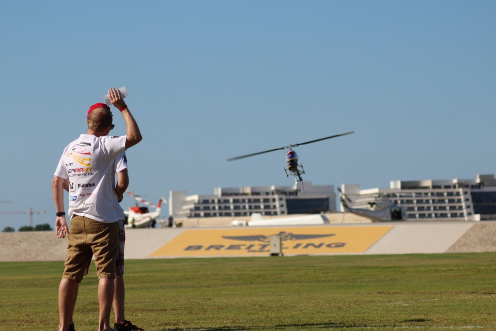 Germany's Eric Weber leads the F3N helicopter freestyle and music style event