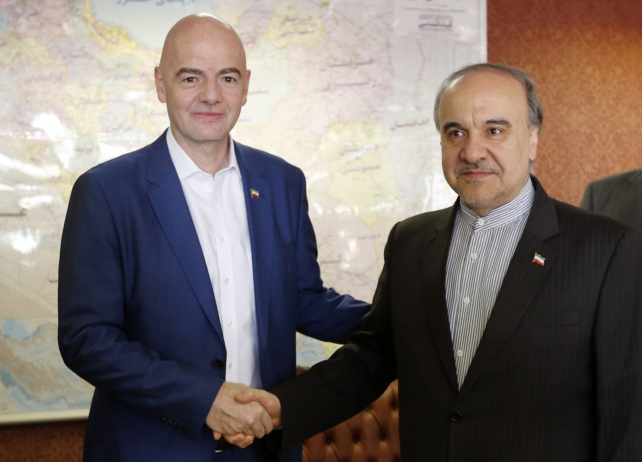 FIFA President Gianni Infantino met Iran's Minister of Youth Affairs and Sports Masoud Soltanifar on a visit to the country in December 2018, when the elections were among items discussed ©Getty Images