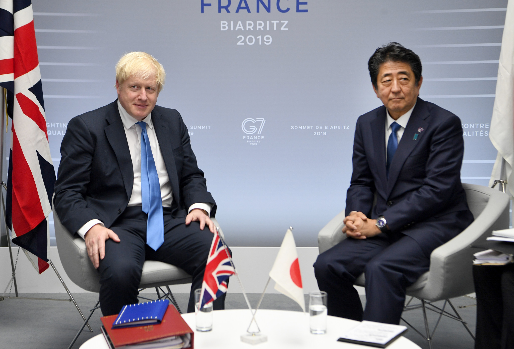 Boris Johnson and Shinzo Abe agreed to cooperation in a telephone call this morning ©Getty Images
