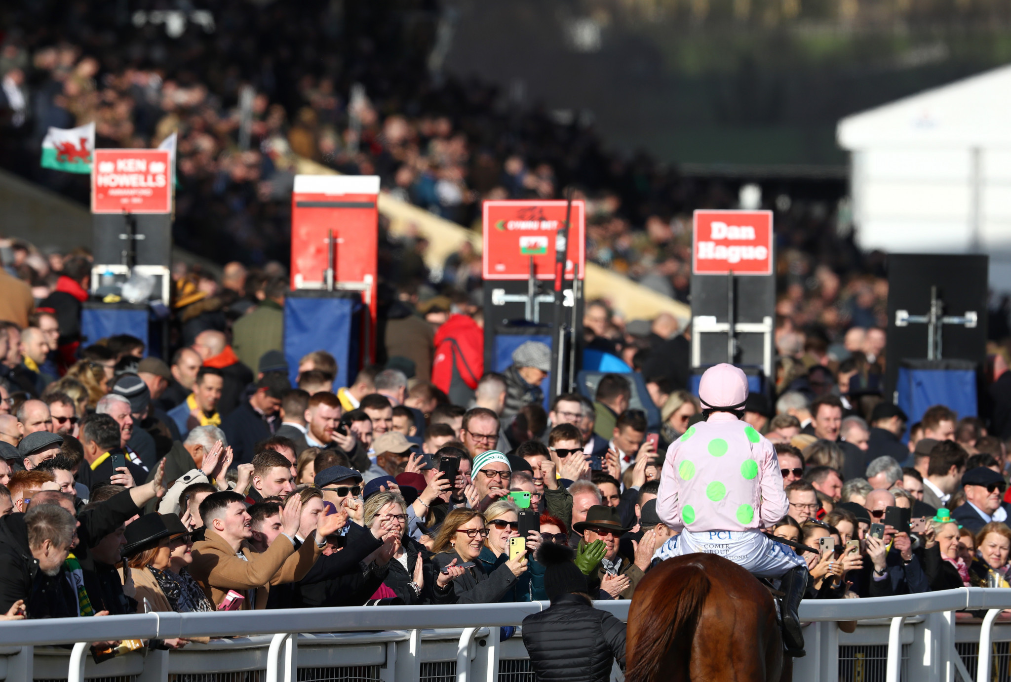 The British Government has faced criticism for letting events such as the Cheltenham Festival go ahead last week with packed stands ©Getty Images