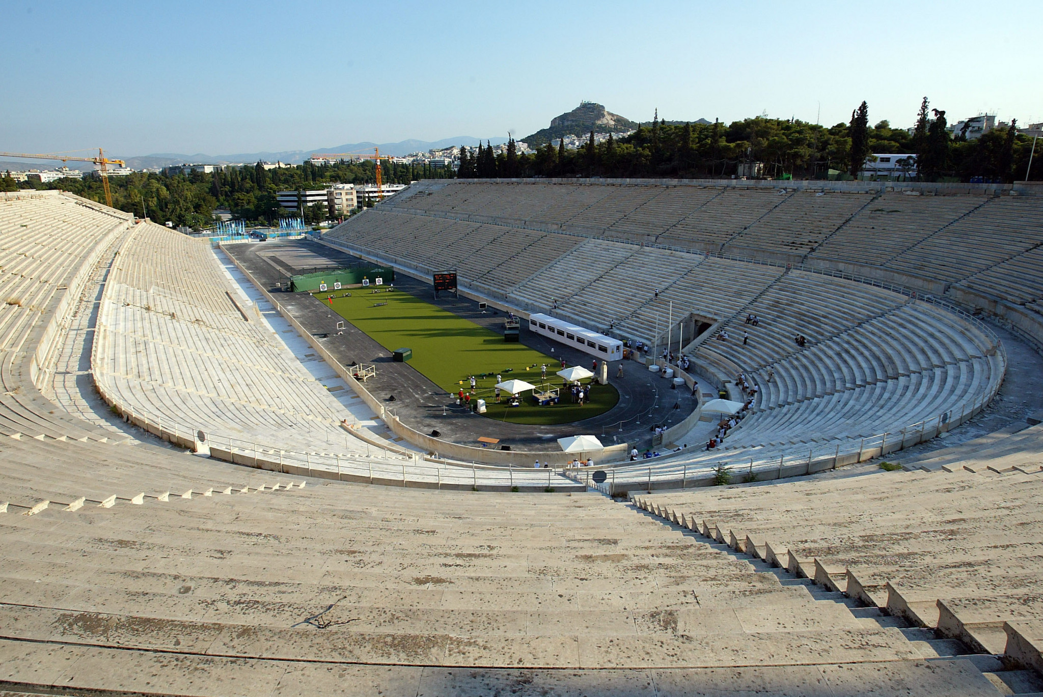 Tomorrow's handover ceremony at the Panathinaiko Stadium has been significantly scaled back ©Getty Images