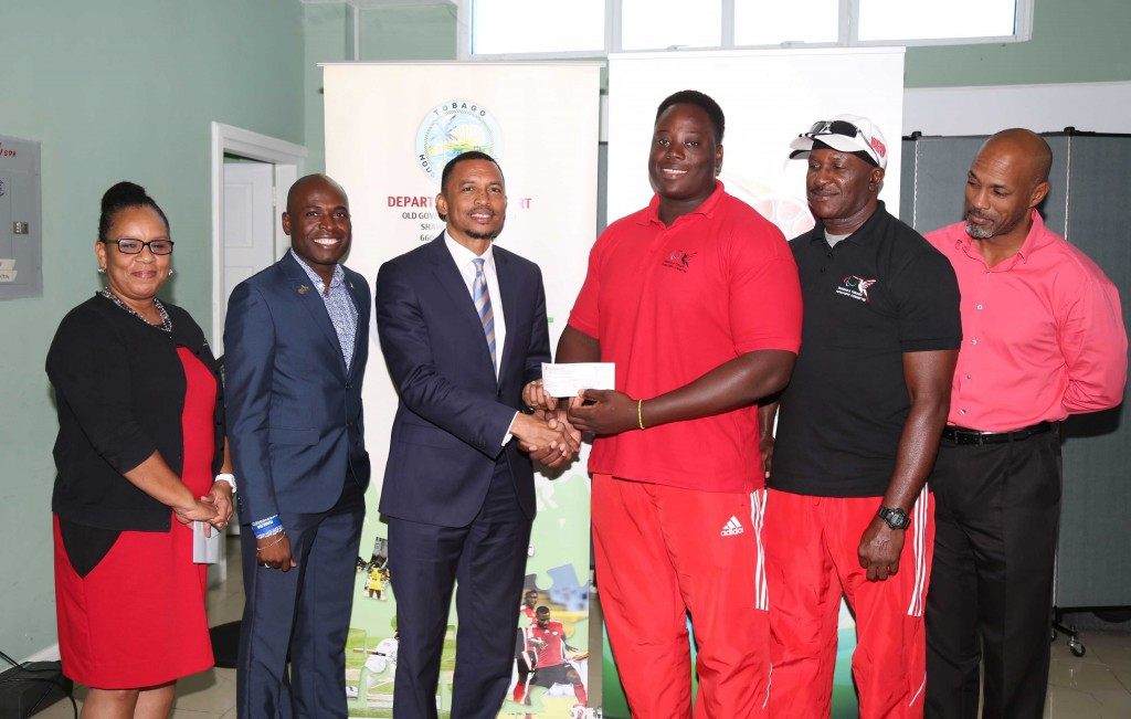 Akeem Stewart received a medal bonus having won double gold at Toronto 2015 ©TTOC