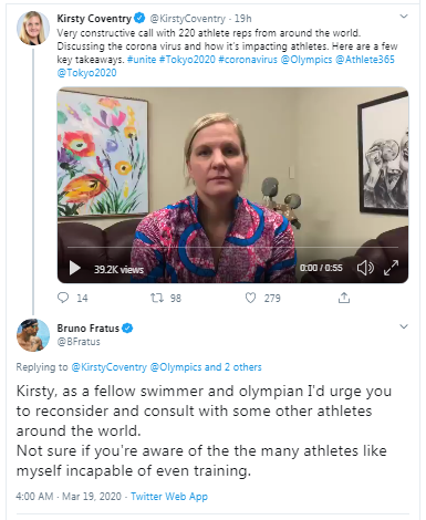 Bruno Fratus replied to Kirsty Coventry's recorded message on Twitter ©Kirsty Coventry/Twitter