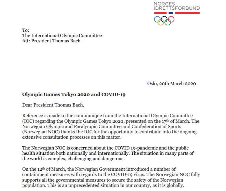 The Norwegian NOC have written to IOC President Thomas Bach to express concern over the pandemic ©Norwegian NOC