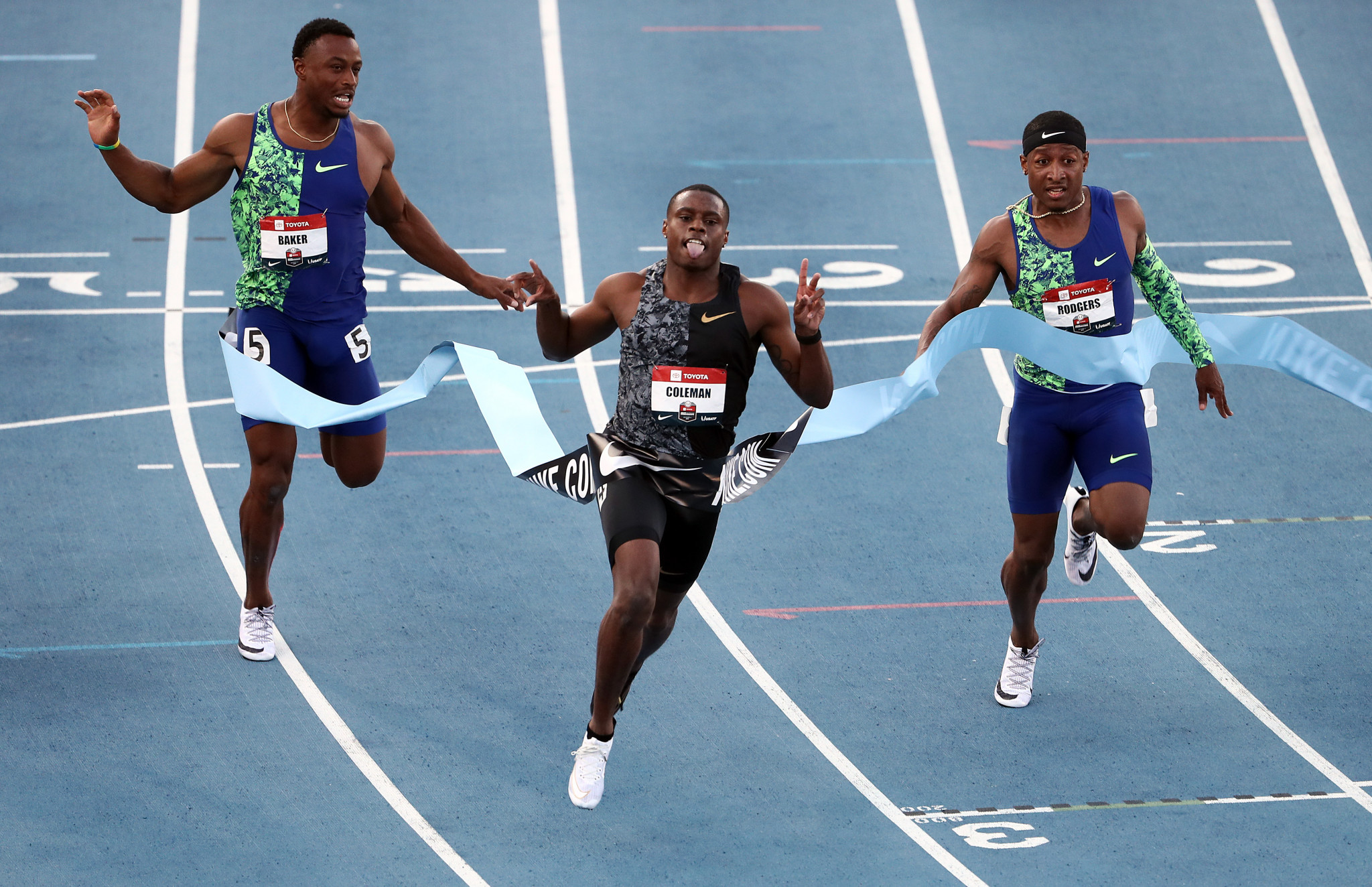 Christian Coleman, centre, is the American 100 metres champion and one of the sport's biggest attractions ©Getty Images