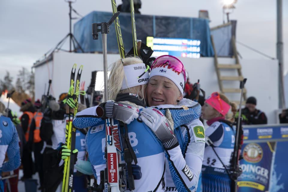 Kaisa Mäkäräinen hugging her team-mate after completing her final biathlon event ©IBU
