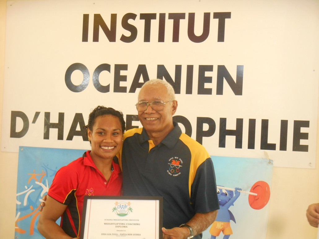 Dika Toua and Sir John Dawanincura ©Oceania Weightlifting Institute