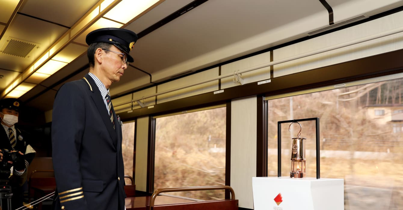 The Flame travelled by rail in the disaster-hit Fukushima region ©Tokyo 2020
