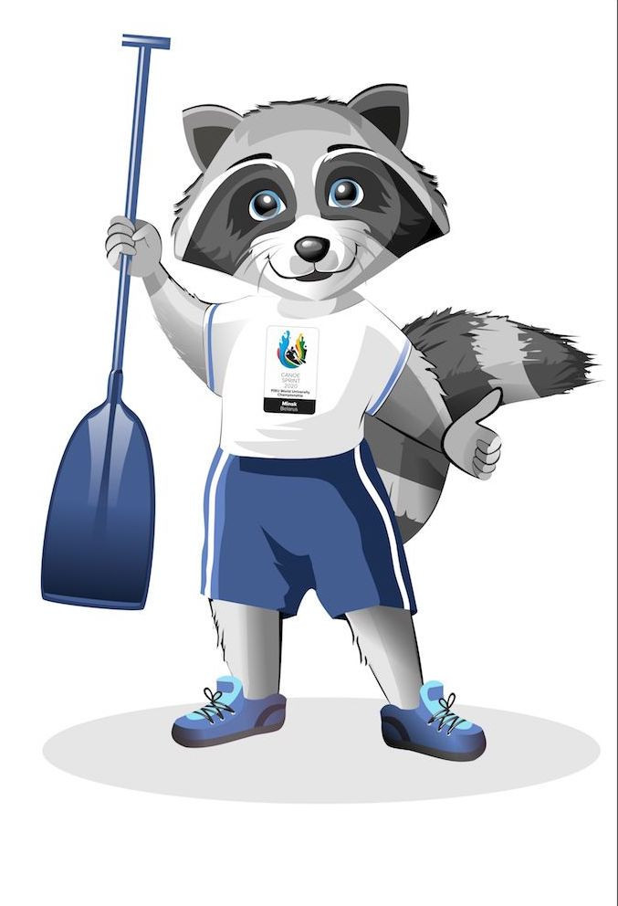 Zheuzhyk the raccoon is the official mascot of the Championships ©FISU