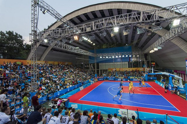 Basketball 3x3 action taking place at last year's Summer Youth Olympic Games in Nanjing ©IOC