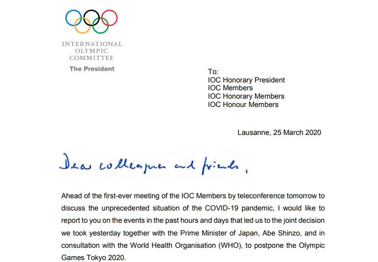 The IOC President has written to the organisation's members following the postponement of Tokyo 2020 ©IOC