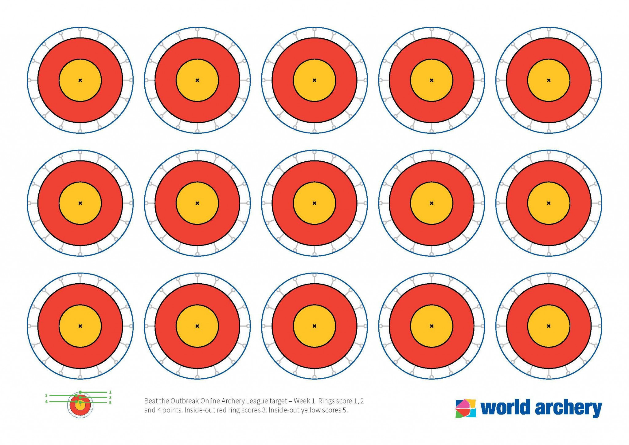 World Archery's print out targets with rules stated below ©World Archery