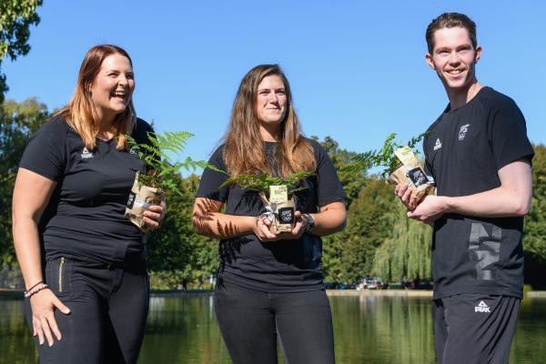 The final athletes selected by the New Zealand Olympic Committee before the hold on selections - from left Natalie Rooney, Chloe Tipple and Tom Burns ©NZOC