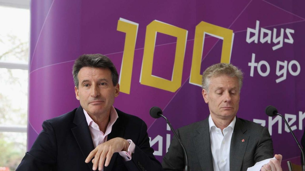 "London 2012 Organising Committee President Sebastian Coe, pictured left with Chief Executive Paul Deighton, has spoken in his current capacity as World Athletics President of the ""perfect storm"" of exhaustion and disappointment that Tokyo 2020 organisers may be facing in the wake of the Games postponement ©Getty Images"