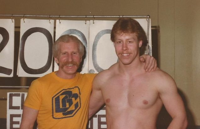 Ron Greavette pictured with his son Guy at their Viking Weighlifting Club ©IWF