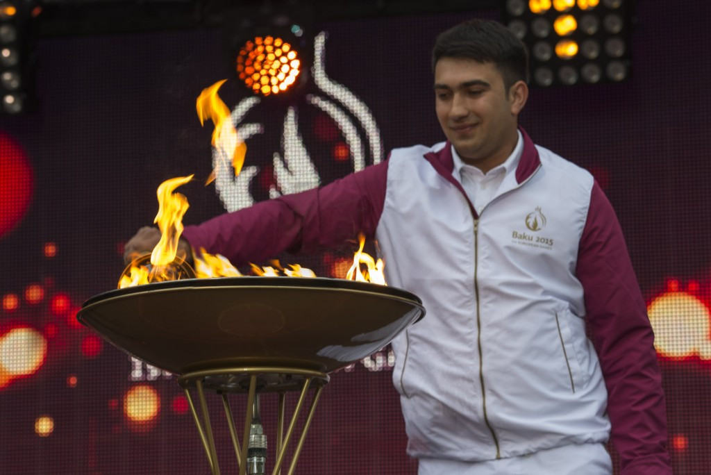 Baku 2015 Flame arrives in Agdam to complete first third of journey