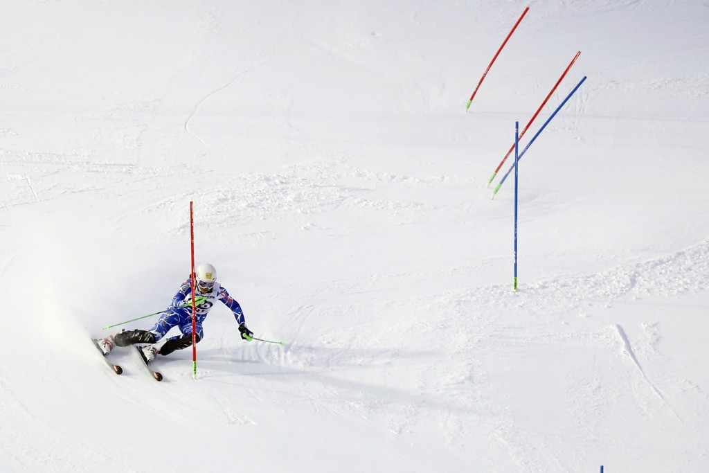 Petra Vlhova on her way to the slalom honours in Åre, Sweden