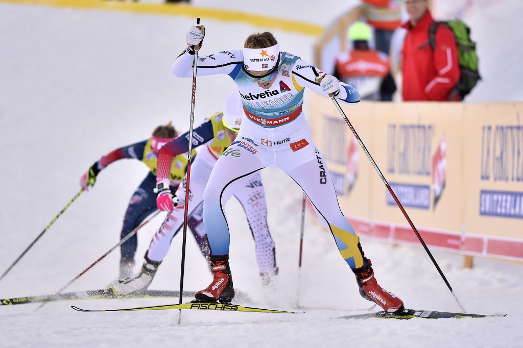 Stina Nilsson powers to the line in Davos