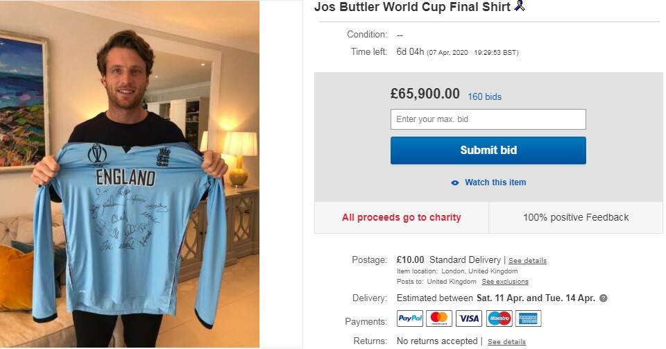 Cricket World Cup winner auctions shirt from final to raise money to fight coronavirus