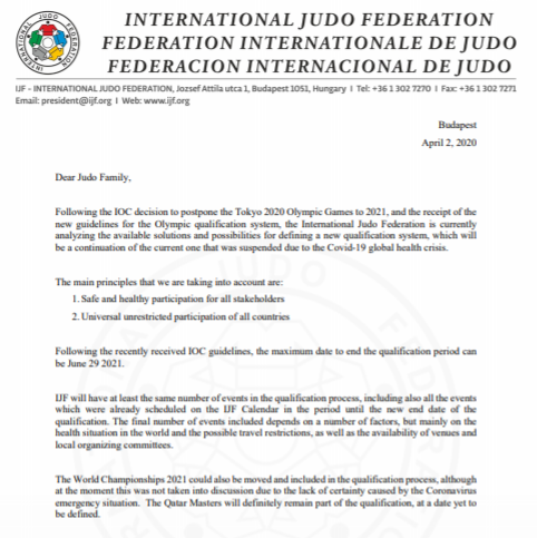 Marius Vizer addressed his letter to the judo family ©IJF