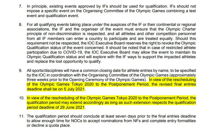 The updated qualification system principles have been released following the postponement of Tokyo 2020 ©IOC