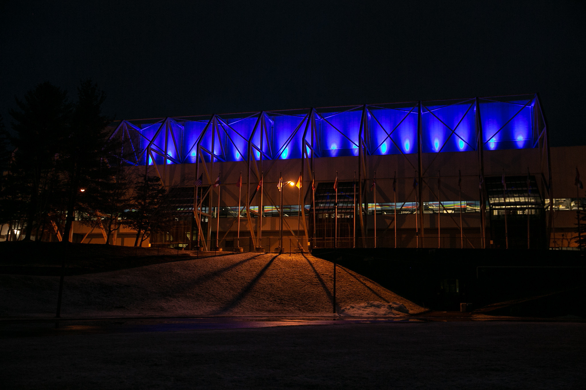 Lake Placid Olympic venues go blue to support health workers
