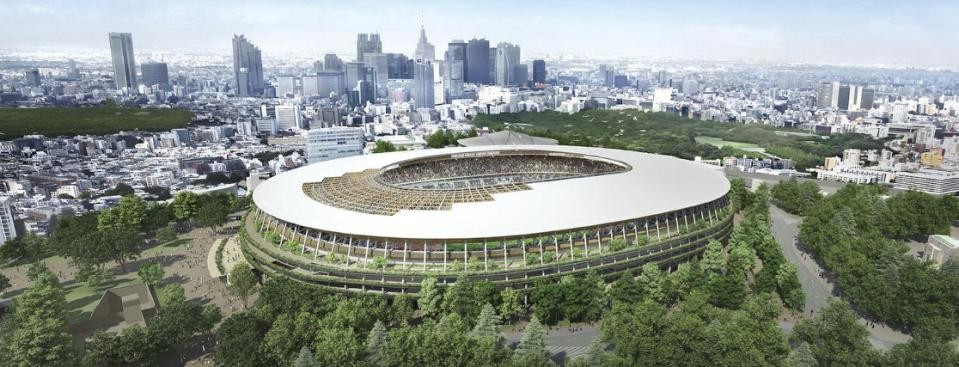 One of two new designs for Tokyo 2020's stadium released by organisers yesterday