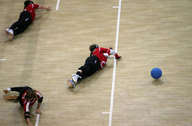 Germany's Swetlana Otto (top) has four goals to her name in the women's goalball competition