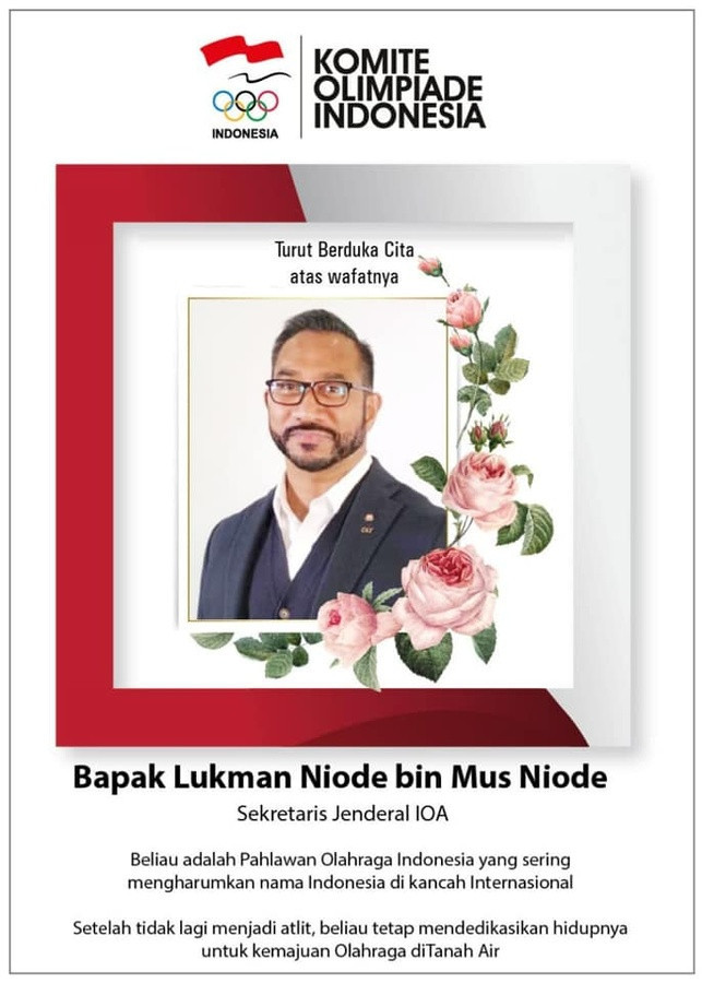 Lukman Niode has died aged 56 after contracting COVID-19 ©KOI