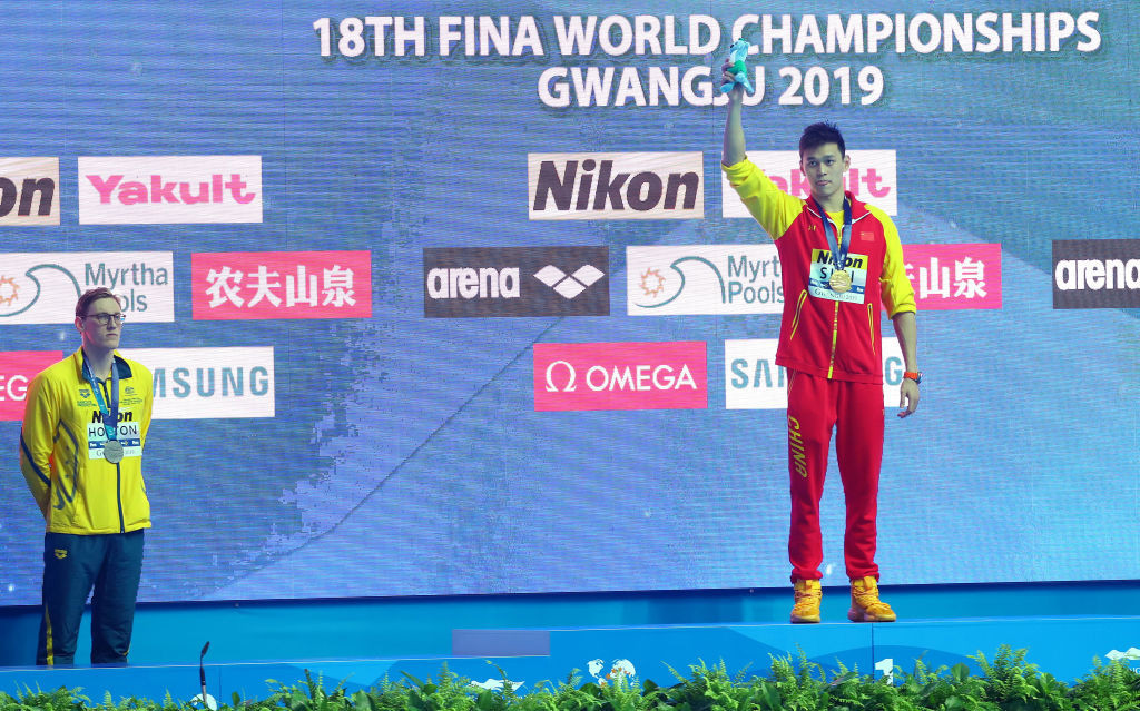 Mack Horton protested against Sun Yang during last year's FINA World Championships ©Getty Images