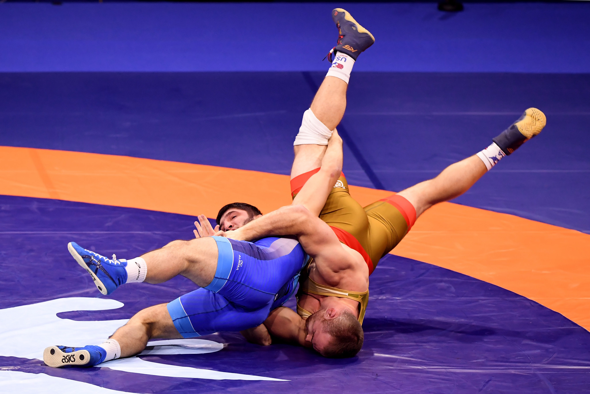 Russia and the United States have five qualifiers to date - including Abdulrashid Sadulaev, in blue, and Kyle Snyder, in gold ©Getty Images