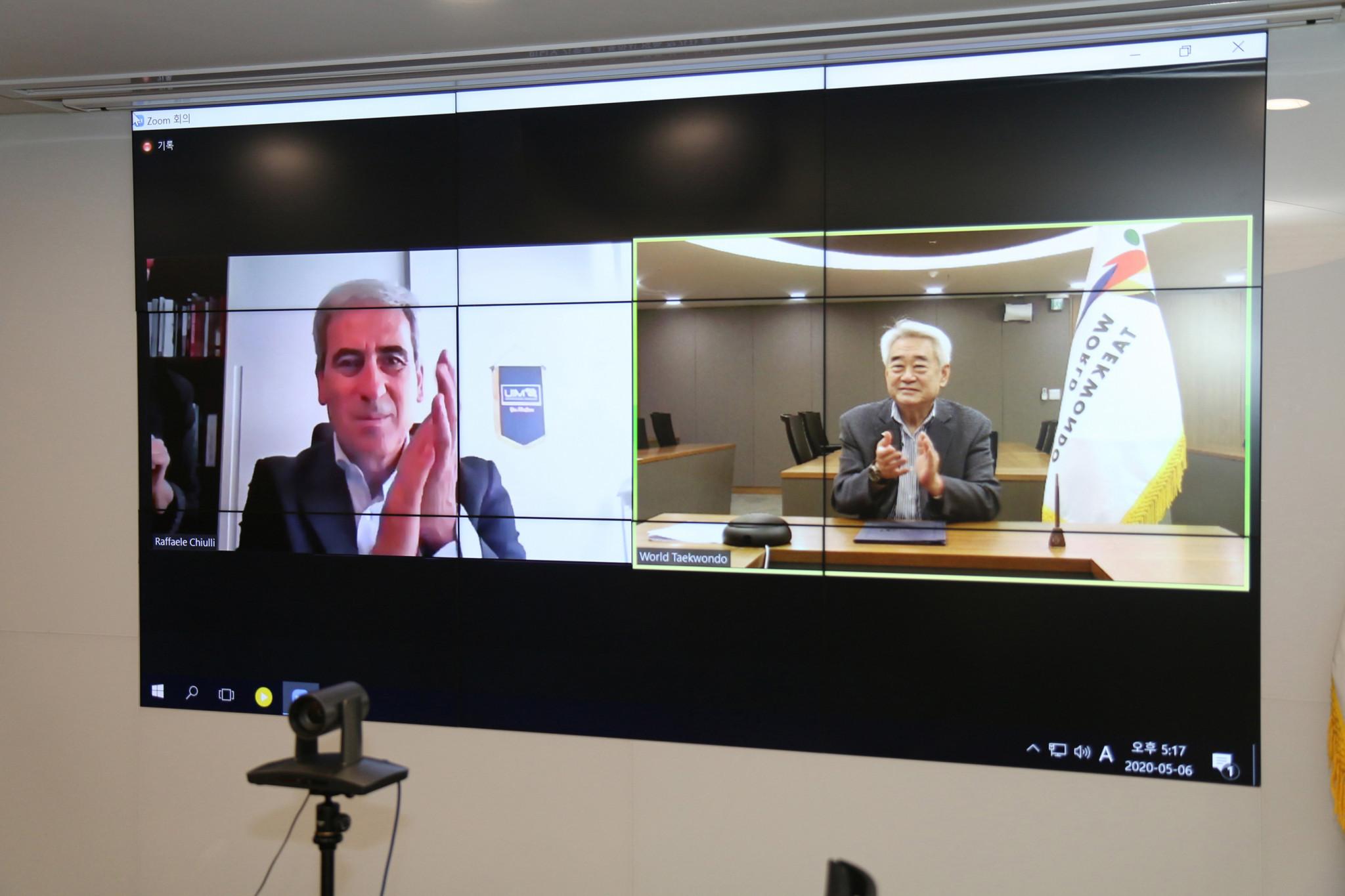 WT and THF President Choue Chung-won and UIM President Raffaele Chiulli met online ©WT