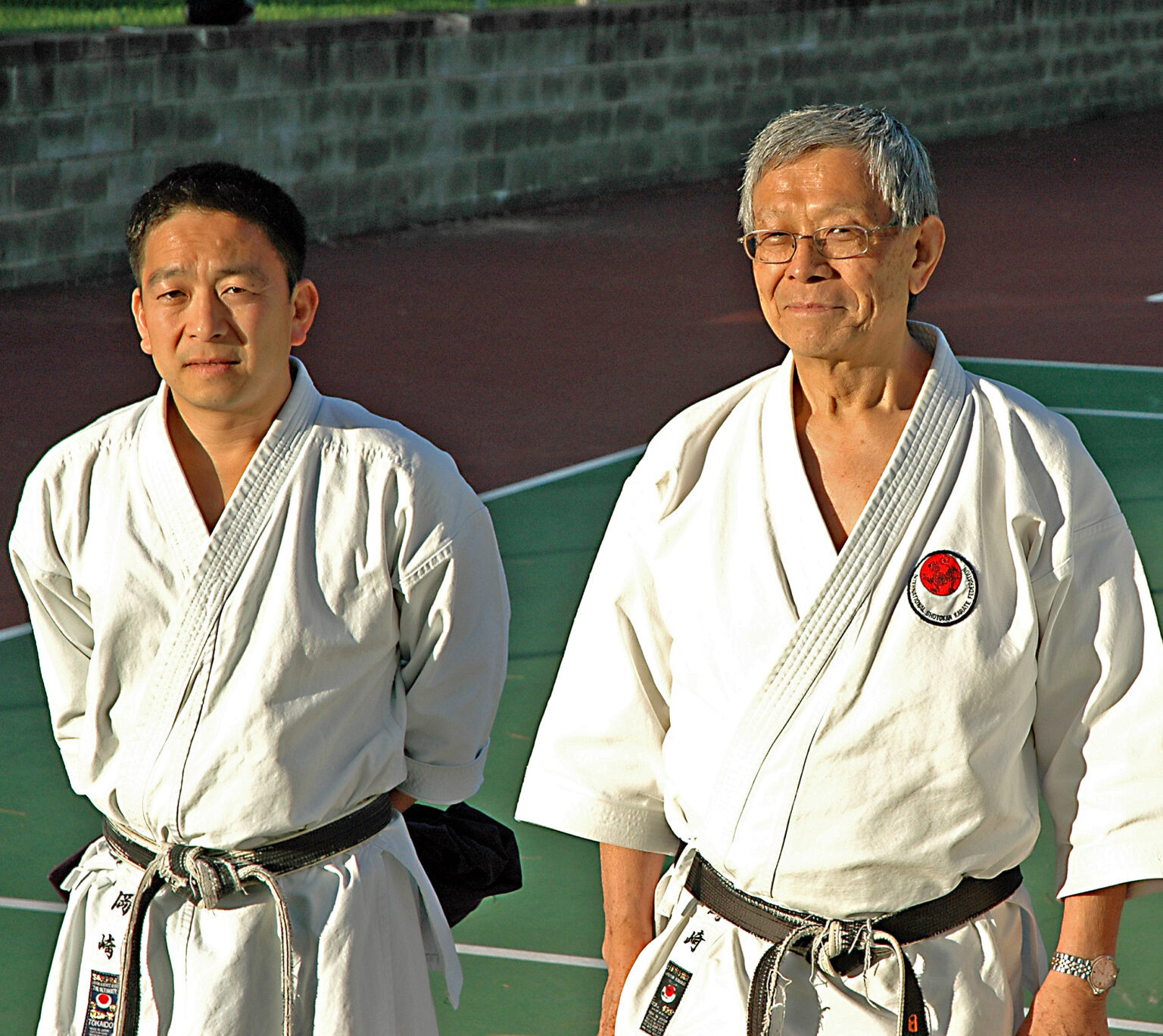 Teruyuki Okazaki, right, one of the founders of the International Shotokan Karate Federation, has passed away ©ISKF