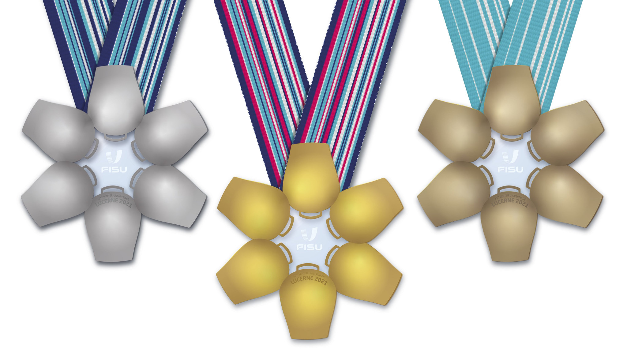 The medals for the 2021 Winter World University Games in Swiss city Lucerne have been unveiled ©Lucerne 2021