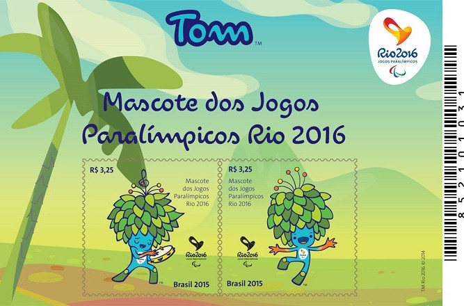 There are two stamp designs for Paralympic mascot Tom