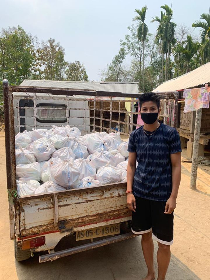 Lovlina Borgohain organised for food packages to be sent to people in need ©ASBC