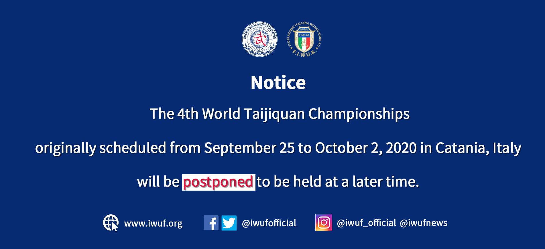 International Wushu Federation postpones World Taijiquan Championships