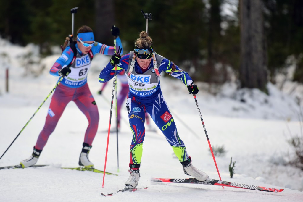 Frenchwoman Marie Dorin Habert shot clean and timed her dash to victory perfectly to seal her first International Biathlon Union win of the campaign in Pokljuka ©Getty Images