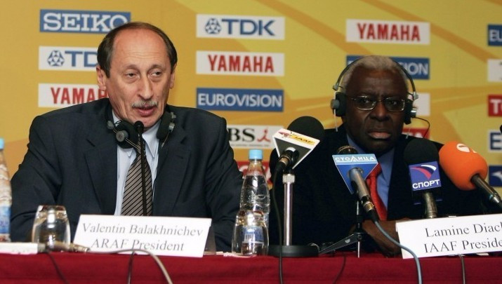 All-Russia Athletics Federation President Valentin Balakhnichev agreed to help fund a political campaign in Senegal after being approached by Lamine Diack (right), it is claimed ©Getty Images