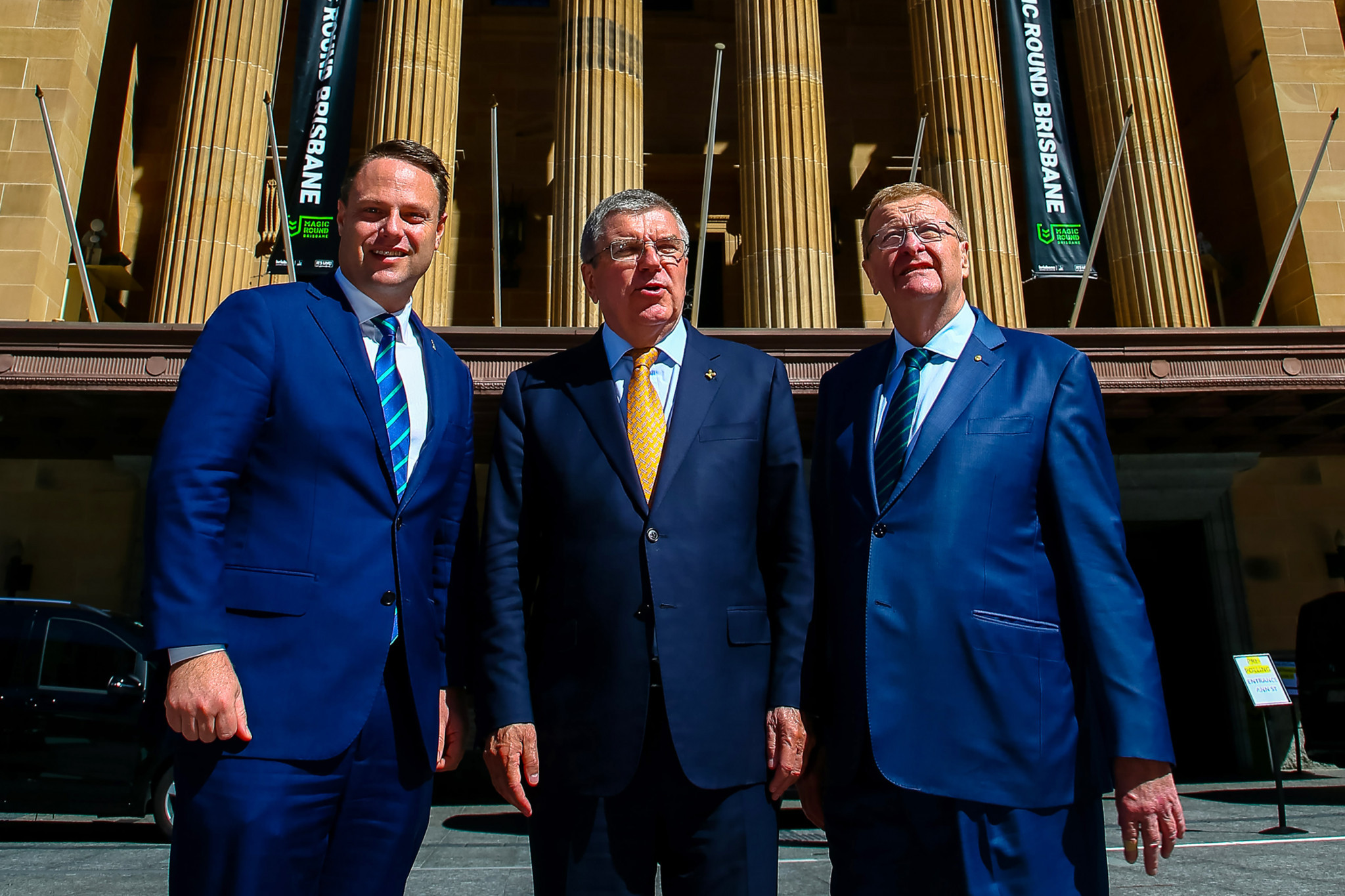 John Coates, right, with International Olympic Committee President Thomas Bach, centre, and Adrian Schrinner ©Getty Images